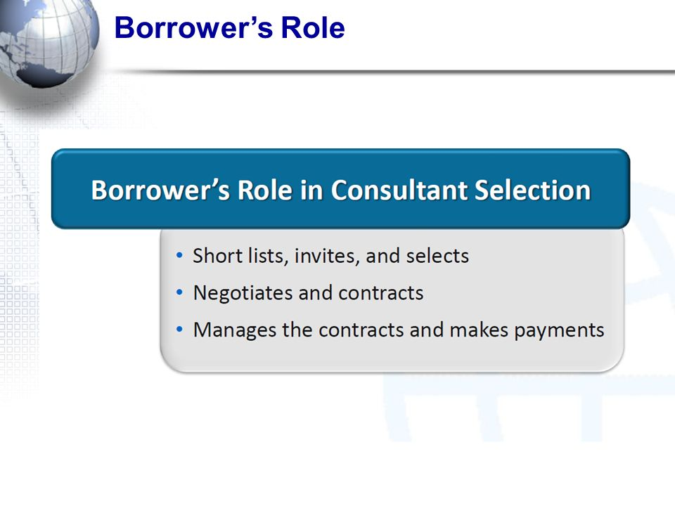 Borrowers Role