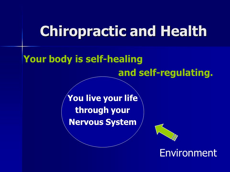 Chiropractic and Health Your body is self-healing and self-regulating.