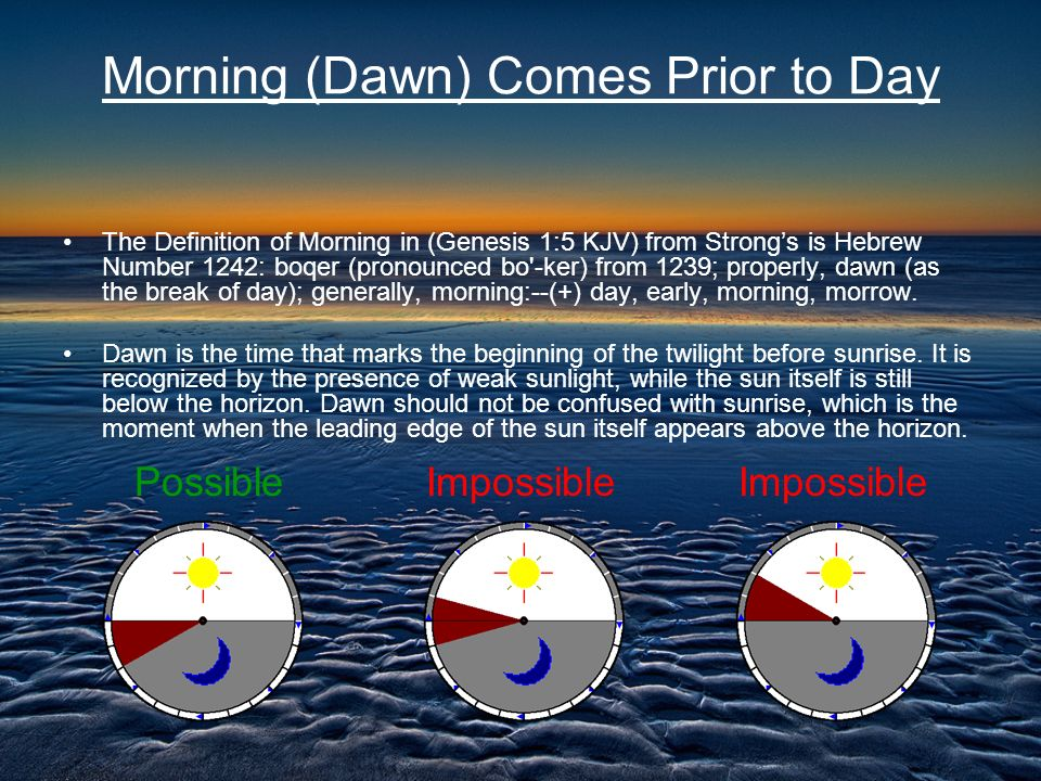 Morning (Dawn) Comes Prior to Day The Definition of Morning in (Genesis 1:5 KJV) from Strongs is Hebrew Number 1242: boqer (pronounced bo'-ker) from 1