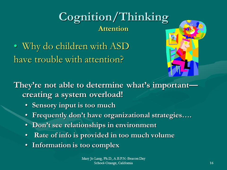 Mary Jo Lang, Ph.D., A.B.P.N.-Beacon Day School-Orange, California16 Cognition/Thinking Attention Why do children with ASDWhy do children with ASD hav