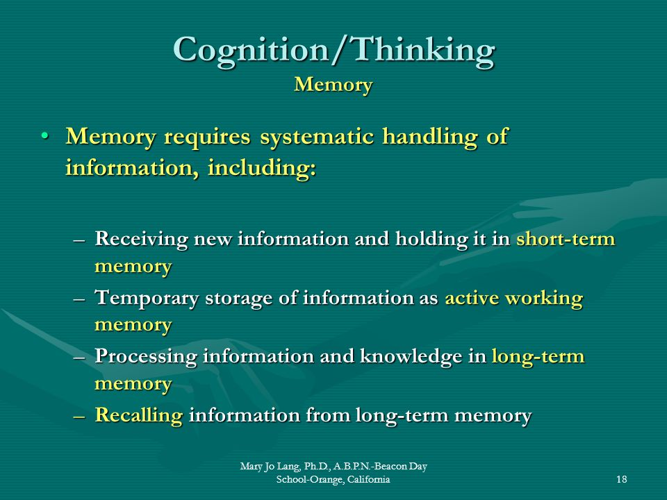 Mary Jo Lang, Ph.D., A.B.P.N.-Beacon Day School-Orange, California18 Cognition/Thinking Memory Memory requires systematic handling of information, inc