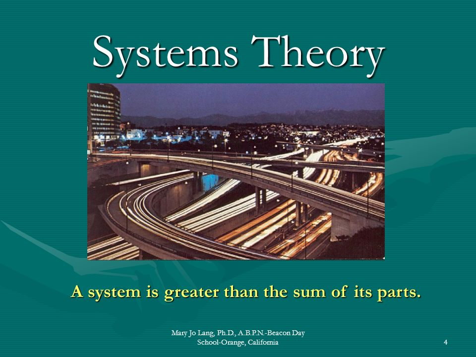 Mary Jo Lang, Ph.D., A.B.P.N.-Beacon Day School-Orange, California4 Systems Theory A system is greater than the sum of its parts.
