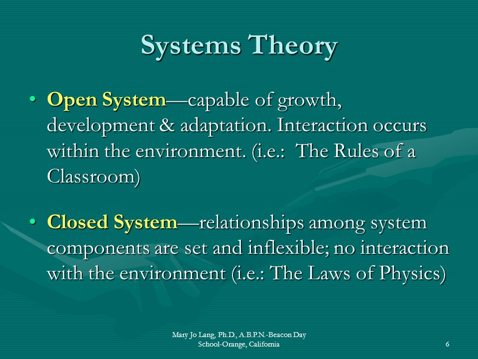 Mary Jo Lang, Ph.D., A.B.P.N.-Beacon Day School-Orange, California6 Systems Theory Open Systemcapable of growth, development & adaptation. Interaction