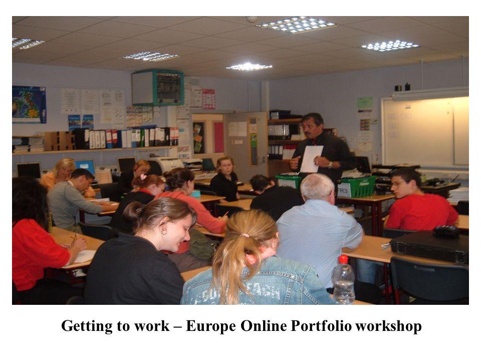 Getting to work – Europe Online Portfolio workshop