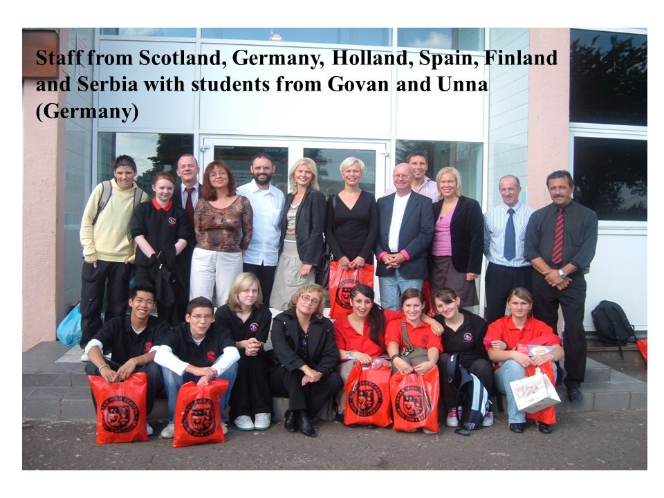 Staff from Scotland, Germany, Holland, Spain, Finland and Serbia with students from Govan and Unna (Germany)