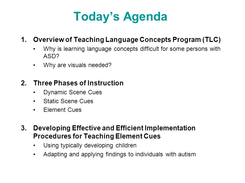 Todays Agenda 1.Overview of Teaching Language Concepts Program (TLC) Why is learning language concepts difficult for some persons with ASD? Why are vi