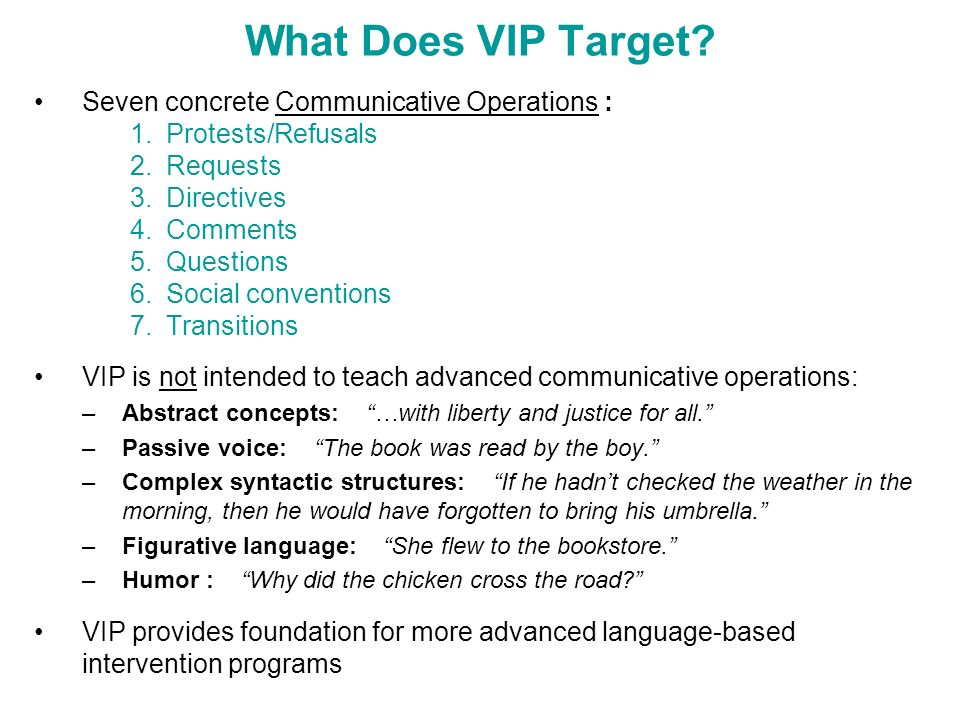 What Does VIP Target? Seven concrete Communicative Operations : 1.Protests/Refusals 2.Requests 3.Directives 4.Comments 5.Questions 6.Social convention
