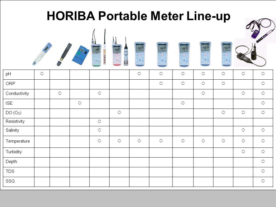 pH ORP Conductivity ISE DO (O 2 ) Resistivity Salinity Temperature Turbidity Depth TDS SSG HORIBA Portable Meter Line-up