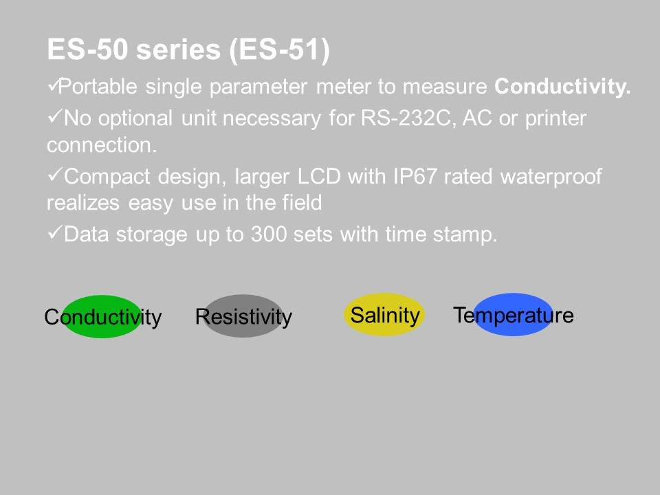 ES-50 series (ES-51) Portable single parameter meter to measure Conductivity. No optional unit necessary for RS-232C, AC or printer connection. Compac
