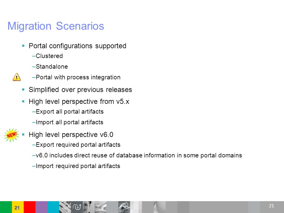 21 Migration Scenarios Portal configurations supported –Clustered –Standalone –Portal with process integration Simplified over previous releases High
