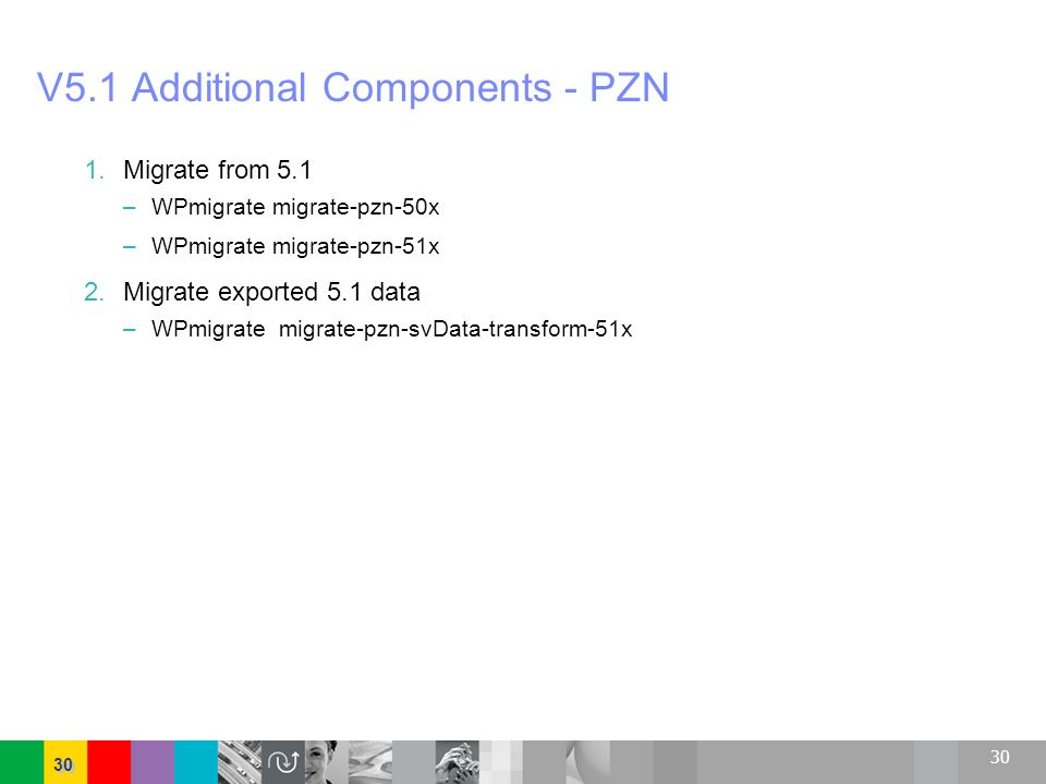 30 V5.1 Additional Components - PZN 1.Migrate from 5.1 – WPmigrate migrate-pzn-50x – WPmigrate migrate-pzn-51x 2.Migrate exported 5.1 data – WPmigrate
