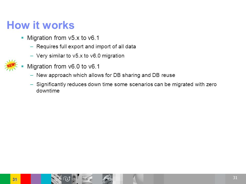 31 How it works Migration from v5.x to v6.1 –Requires full export and import of all data –Very similar to v5.x to v6.0 migration Migration from v6.0 t