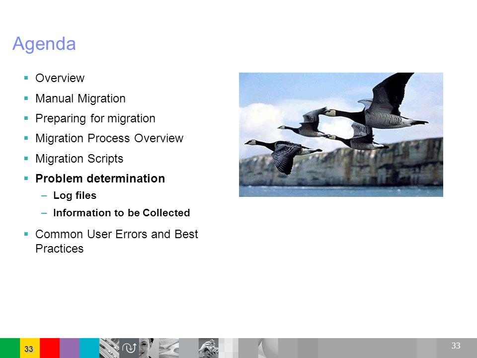 33 Agenda Overview Manual Migration Preparing for migration Migration Process Overview Migration Scripts Problem determination –Log files –Information