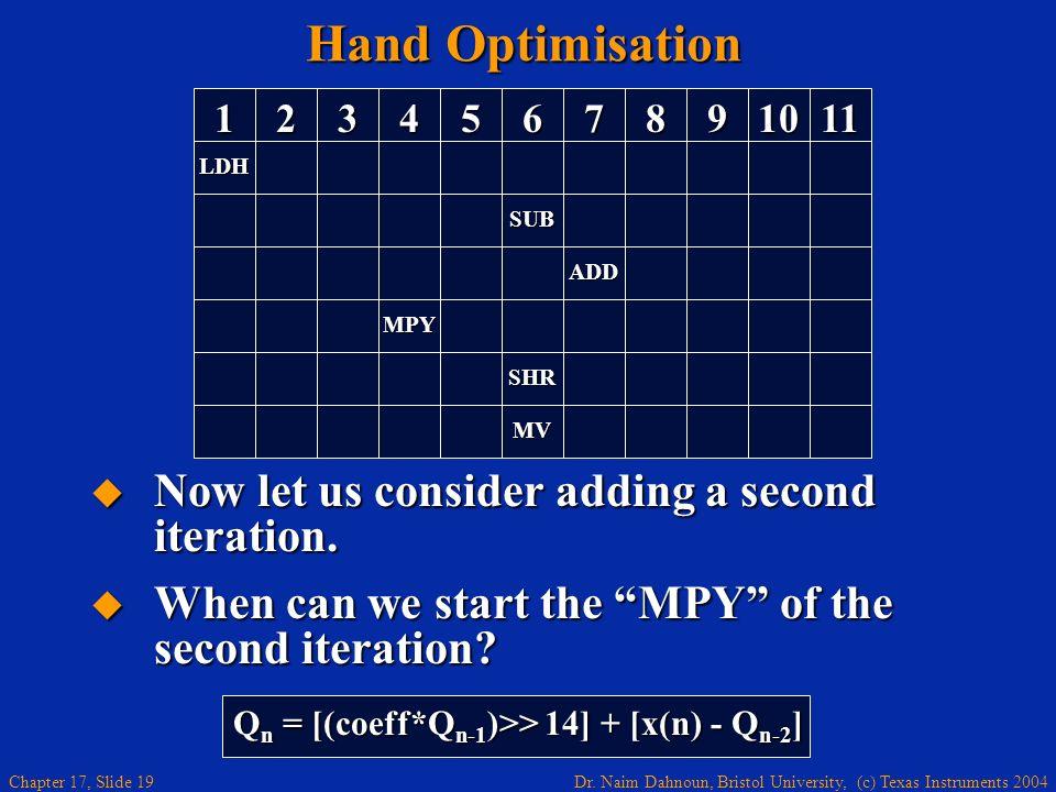 Dr. Naim Dahnoun, Bristol University, (c) Texas Instruments 2004 Chapter 17, Slide 18 Hand Optimisation Implementation of: Implementation of: Q n = [(