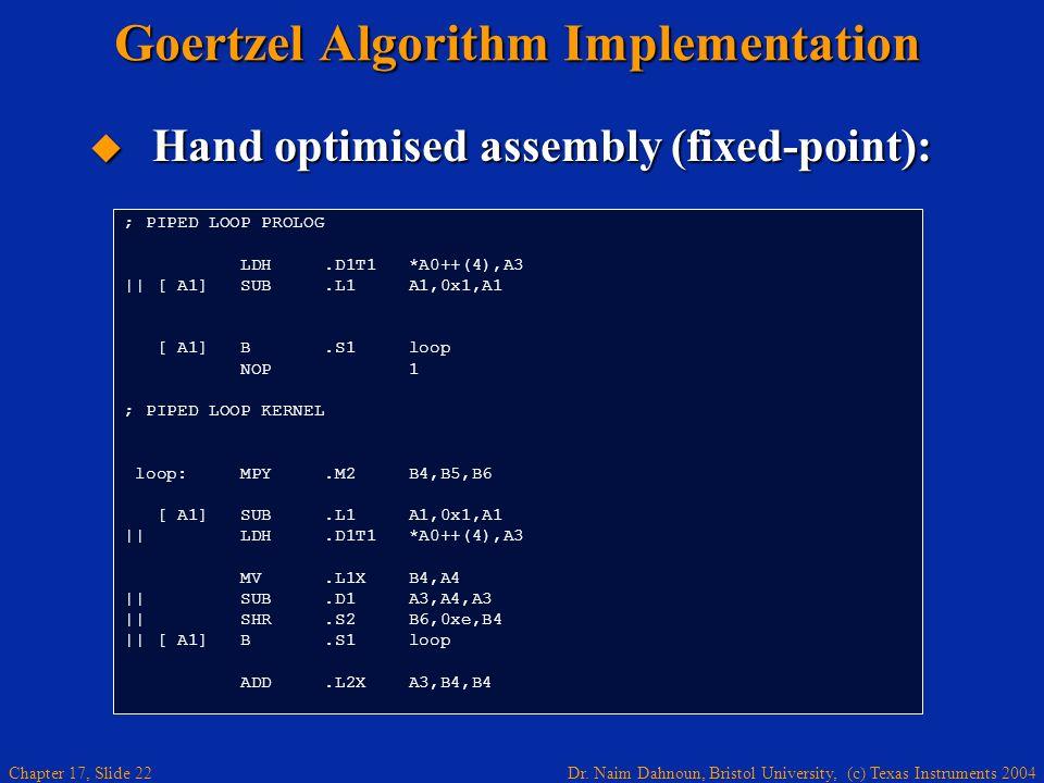 Dr. Naim Dahnoun, Bristol University, (c) Texas Instruments 2004 Chapter 17, Slide 21 1234567891011 LDH MPY SHR ADD SUB MV Hand Optimisation The other