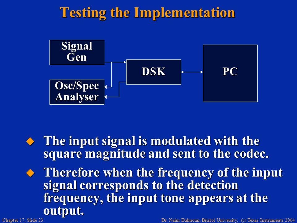 Dr. Naim Dahnoun, Bristol University, (c) Texas Instruments 2004 Chapter 17, Slide 22 Goertzel Algorithm Implementation Hand optimised assembly (fixed