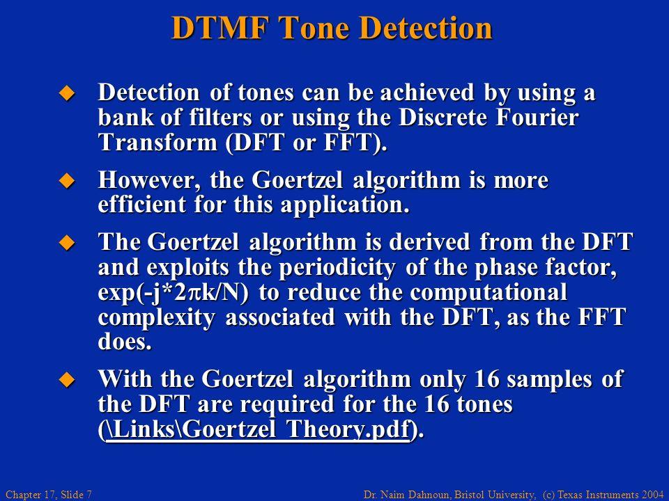 Dr. Naim Dahnoun, Bristol University, (c) Texas Instruments 2004 Chapter 17, Slide 6 DTMF Tone Generation Click on keypad to generate the sound. Click