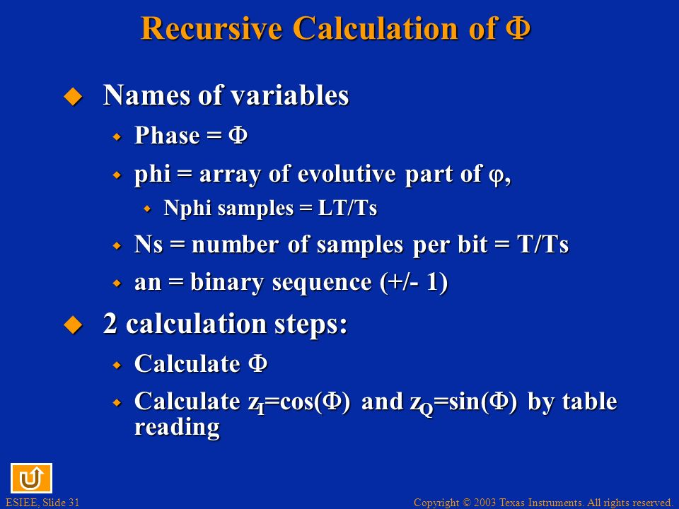 Copyright © 2003 Texas Instruments. All rights reserved. ESIEE, Slide 31 Recursive Calculation of Recursive Calculation of Names of variables Names of