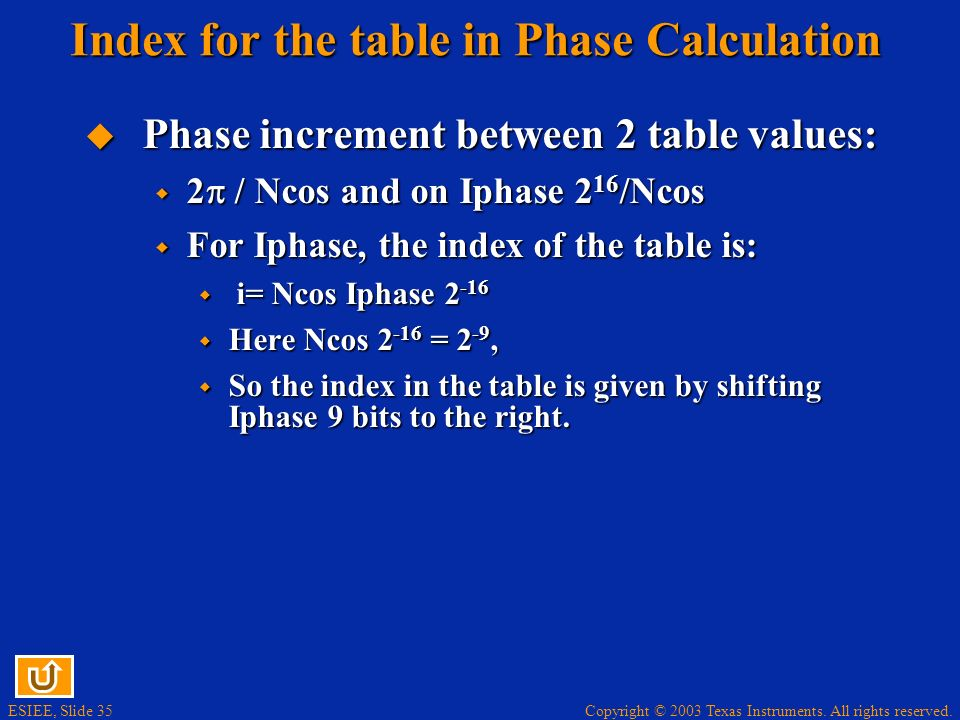 Copyright © 2003 Texas Instruments. All rights reserved. ESIEE, Slide 35 Index for the table in Phase Calculation Phase increment between 2 table valu