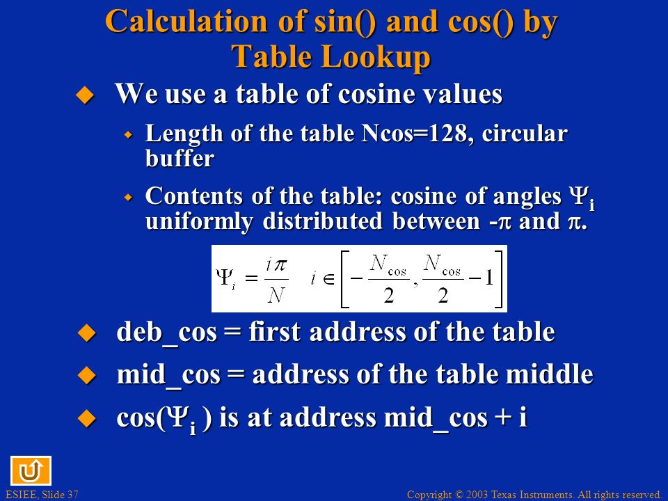 Copyright © 2003 Texas Instruments. All rights reserved. ESIEE, Slide 37 Calculation of sin() and cos() by Table Lookup We use a table of cosine value