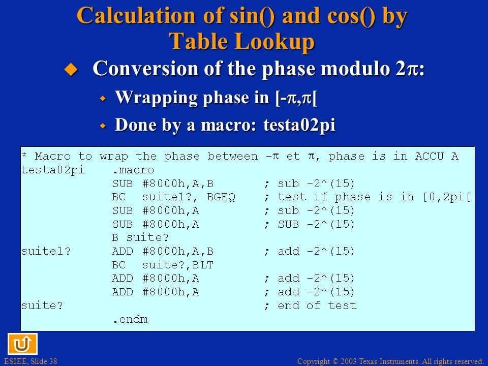 Copyright © 2003 Texas Instruments. All rights reserved. ESIEE, Slide 38 Calculation of sin() and cos() by Table Lookup Conversion of the phase modulo