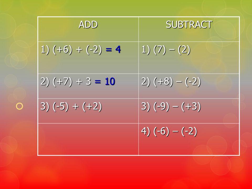 ADDSUBTRACT 1) (+6) + (-2) = 4 1) (7) – (2) 2) (+7) + 3 = 10 2) (+8) – (-2) 3) (-5) + (+2) 3) (-9) – (+3) 4) (-6) – (-2)