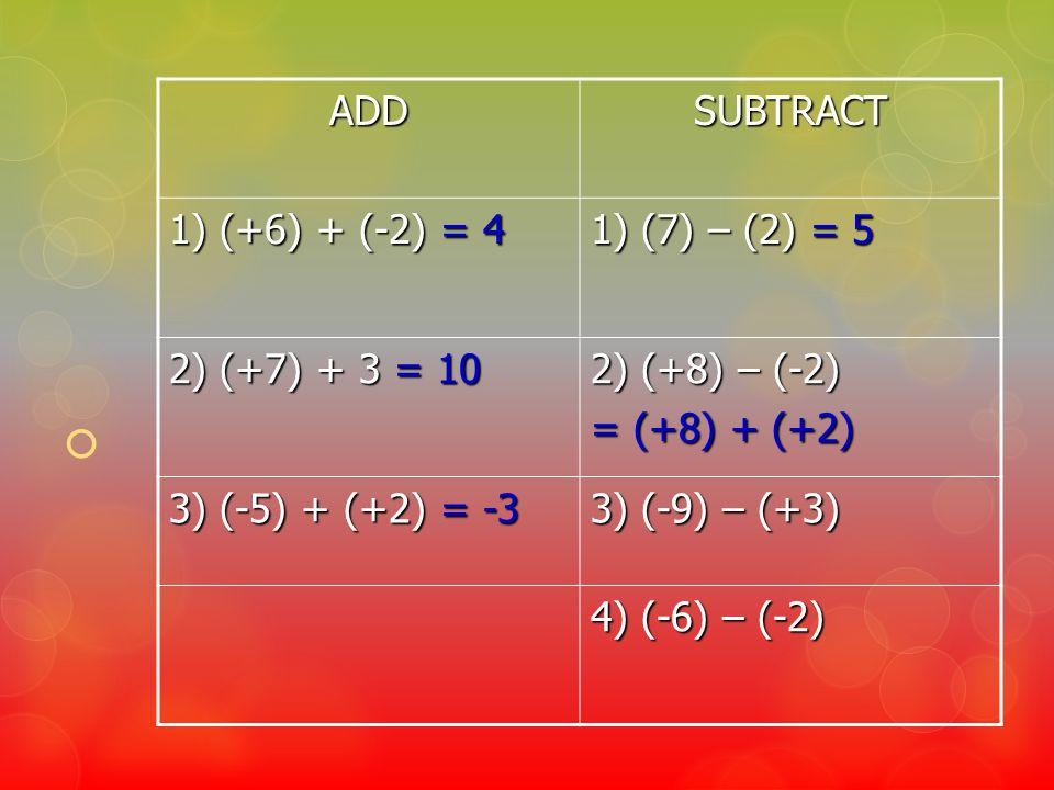 ADDSUBTRACT 1) (+6) + (-2) = 4 1) (7) – (2) = 5 2) (+7) + 3 = 10 2) (+8) – (-2) = (+8) + (+2) 3) (-5) + (+2) = -3 3) (-9) – (+3) 4) (-6) – (-2)