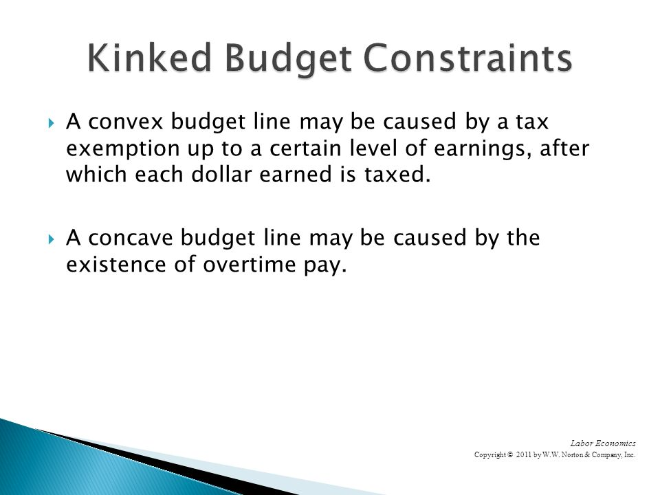 A convex budget line may be caused by a tax exemption up to a certain level of earnings, after which each dollar earned is taxed.