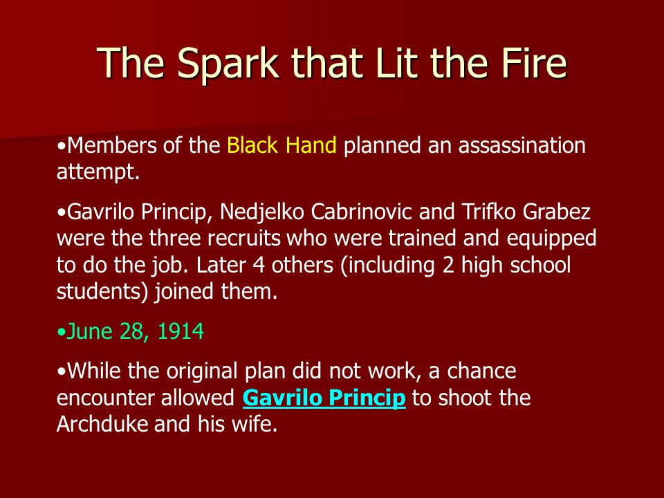 The Spark that Lit the Fire Members of the Black Hand planned an assassination attempt. Gavrilo Princip, Nedjelko Cabrinovic and Trifko Grabez were th