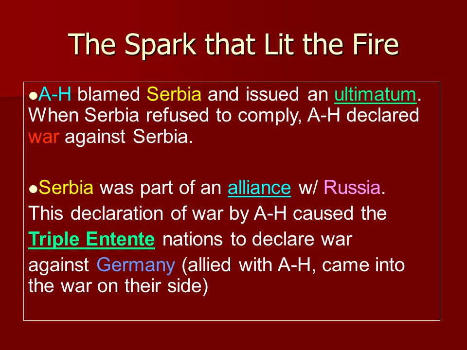 The Spark that Lit the Fire A-H blamed Serbia and issued an ultimatum. When Serbia refused to comply, A-H declared war against Serbia. Serbia was part