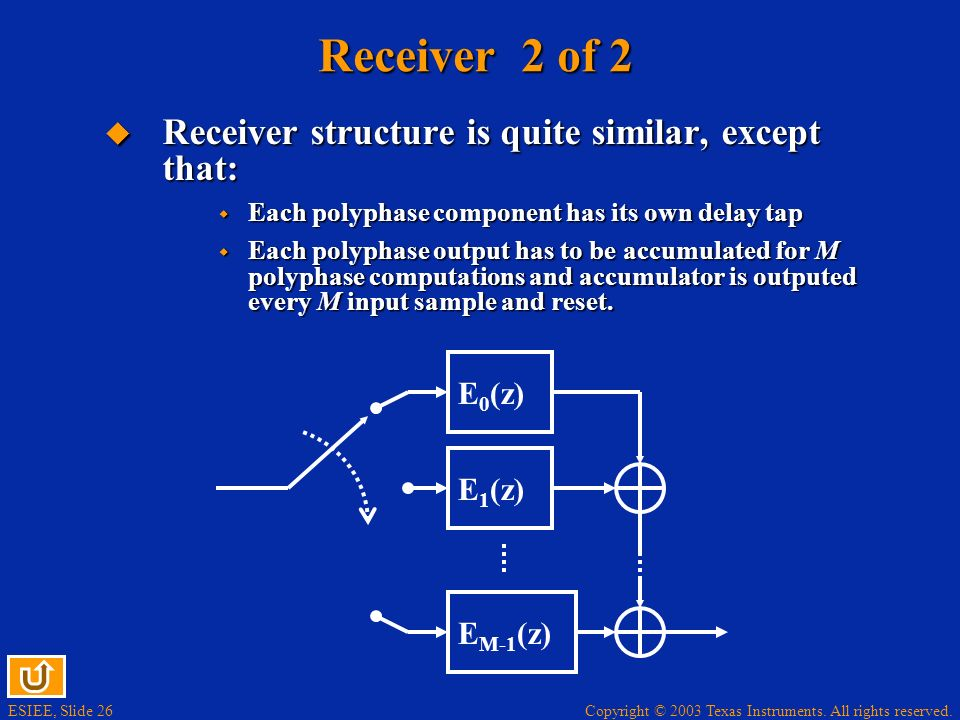 Copyright © 2003 Texas Instruments. All rights reserved. ESIEE, Slide 26 Receiver 2 of 2 Receiver structure is quite similar, except that: Receiver st