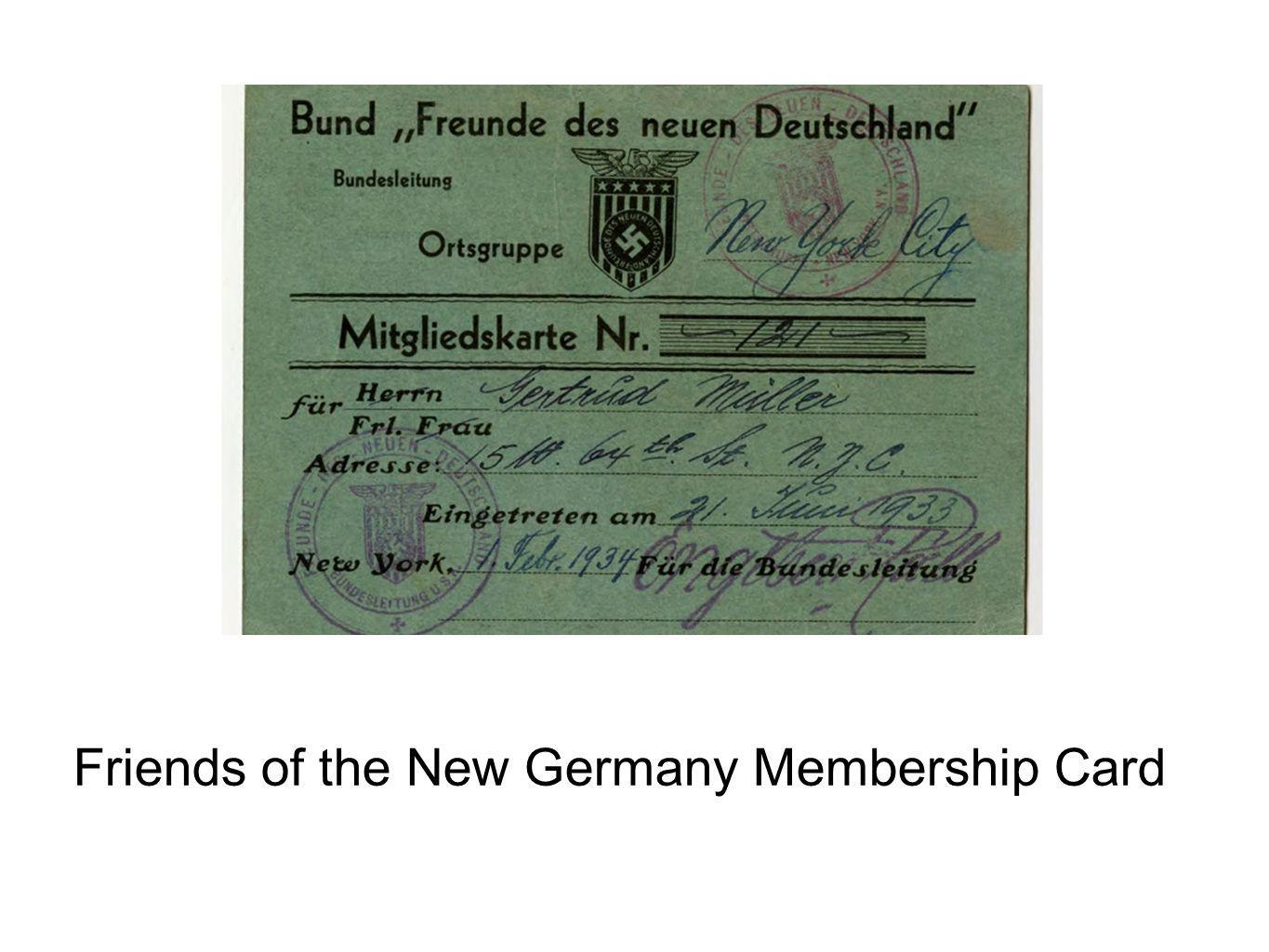 Friends of the New Germany Membership Card