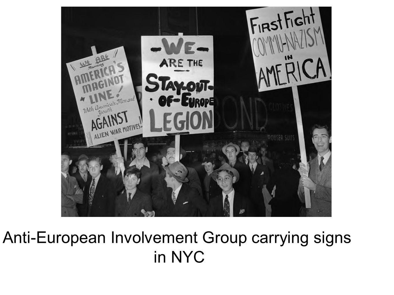 Anti-European Involvement Group carrying signs in NYC
