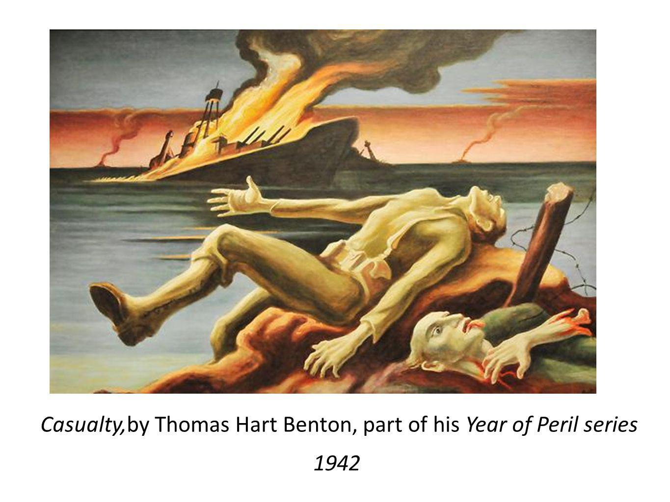 Casualty,by Thomas Hart Benton, part of his Year of Peril series 1942