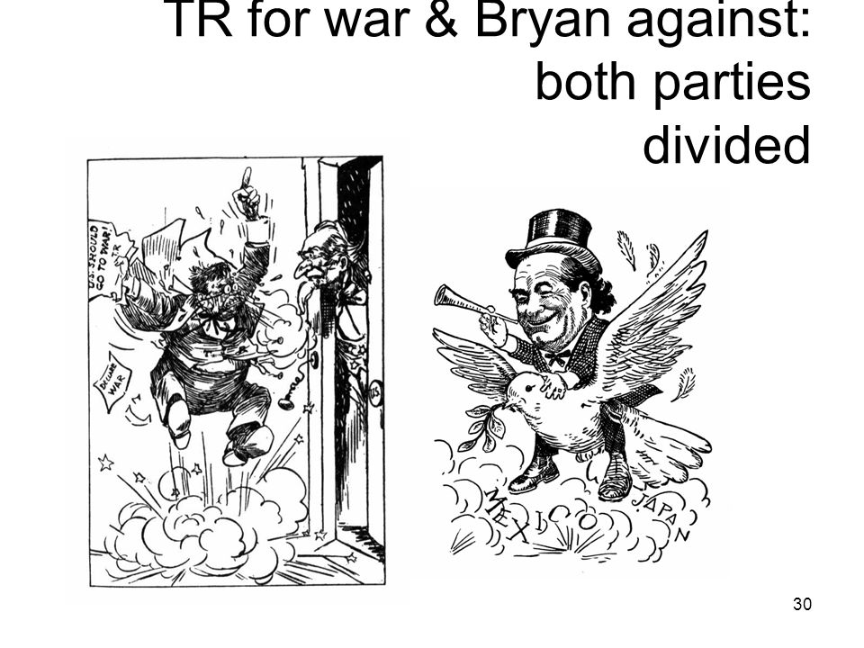 30 TR for war & Bryan against: both parties divided