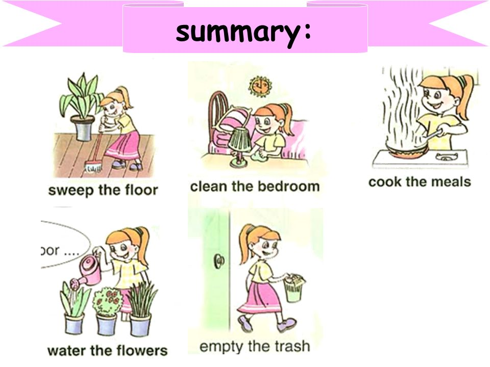 1. cook the meals A. 2. empty the trash B. 3. water the flowers C. 4. sweep the floor D. 5. clean the bedroom E. 6. at home F. 7. wash the windows G.