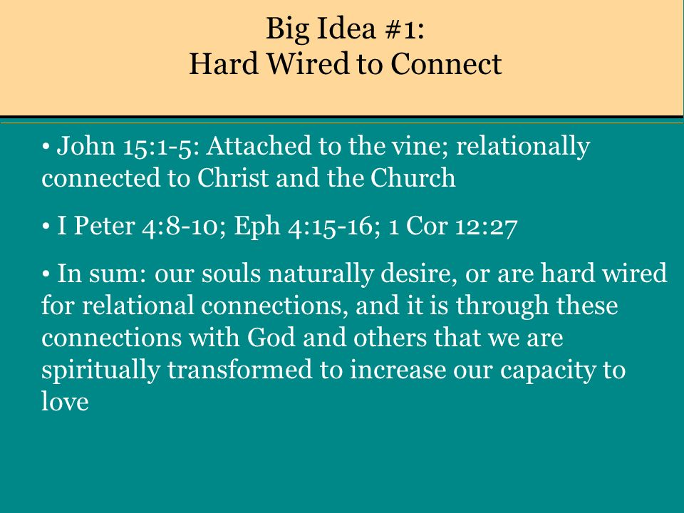 Big Idea #1: Hard Wired to Connect John 15:1-5: Attached to the vine; relationally connected to Christ and the Church I Peter 4:8-10; Eph 4:15-16; 1 Cor 12:27 In sum: our souls naturally desire, or are hard wired for relational connections, and it is through these connections with God and others that we are spiritually transformed to increase our capacity to love