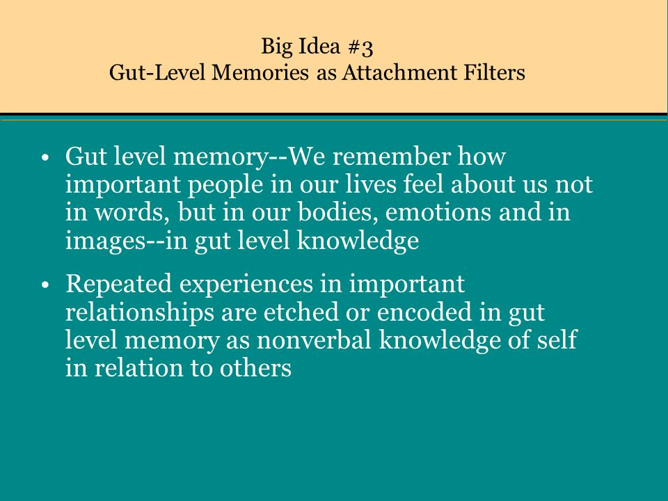 Big Idea #3 Gut-Level Memories as Attachment Filters Gut level memory--We remember how important people in our lives feel about us not in words, but in our bodies, emotions and in images--in gut level knowledge Repeated experiences in important relationships are etched or encoded in gut level memory as nonverbal knowledge of self in relation to others