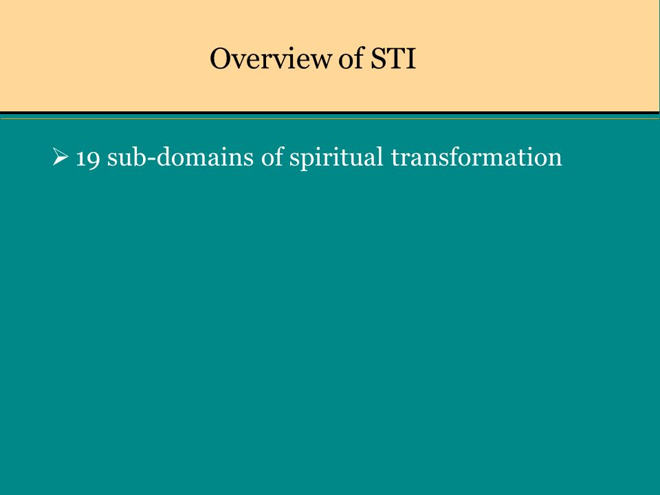 Overview of STI 19 sub-domains of spiritual transformation