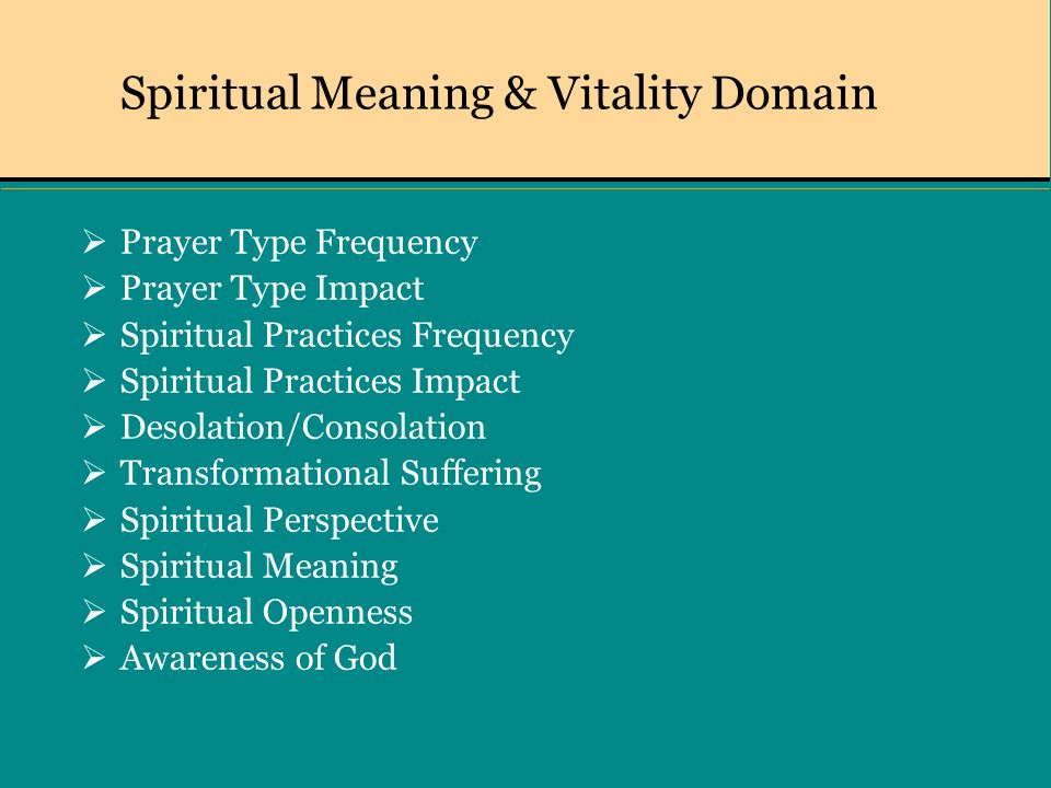Spiritual Meaning & Vitality Domain Prayer Type Frequency Prayer Type Impact Spiritual Practices Frequency Spiritual Practices Impact Desolation/Consolation Transformational Suffering Spiritual Perspective Spiritual Meaning Spiritual Openness Awareness of God