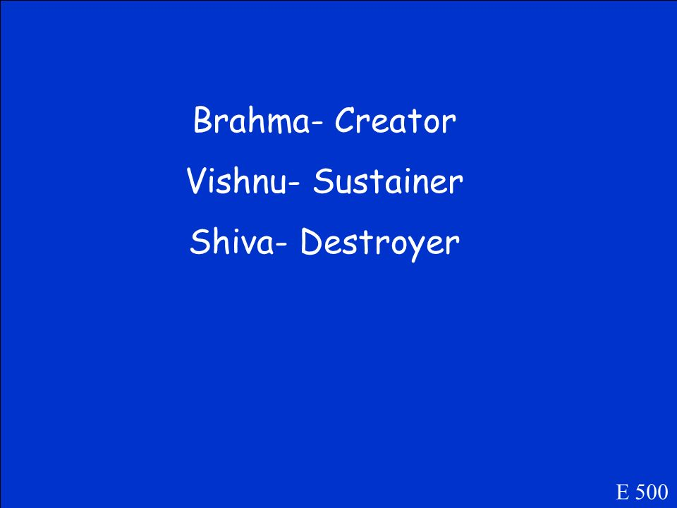 Name the three main gods in Hinduismunder Brahman E 500