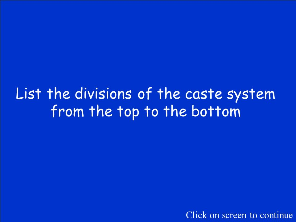 The Final Jeopardy Category is: The Caste System Please record your wager. Click on screen to begin