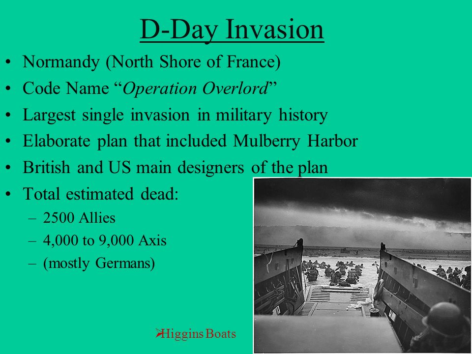 D-Day Invasion Normandy (North Shore of France) Code Name Operation Overlord Largest single invasion in military history Elaborate plan that included