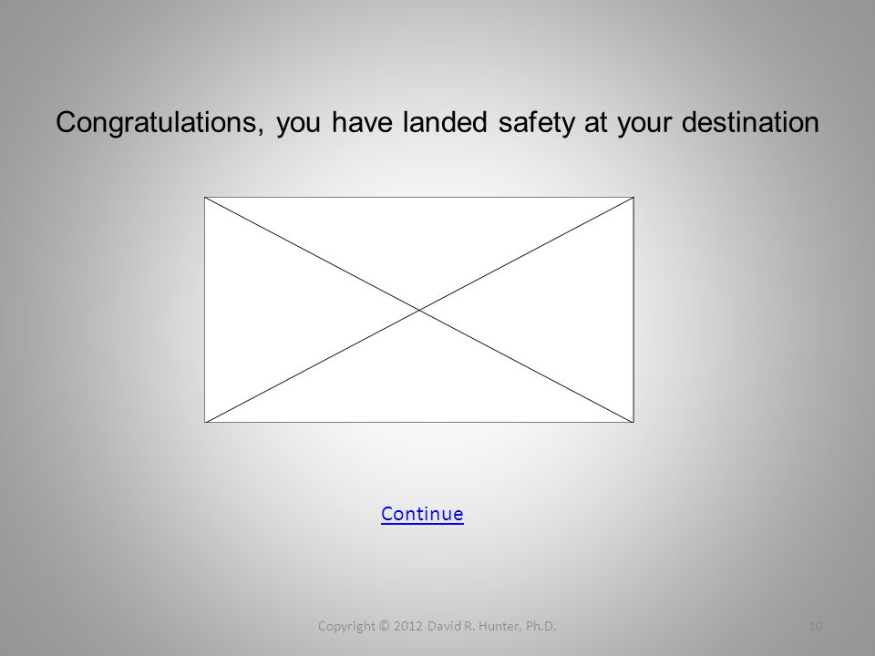 Congratulations, you have landed safety at your destination Copyright © 2012 David R. Hunter, Ph.D.10 Continue