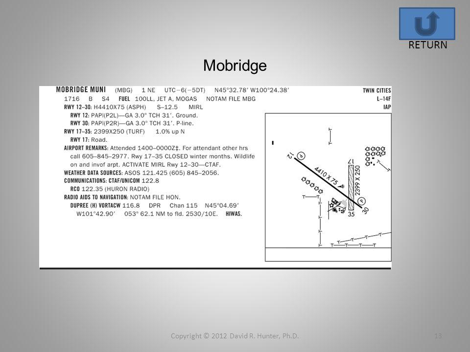 Mobridge Copyright © 2012 David R. Hunter, Ph.D.13 RETURN