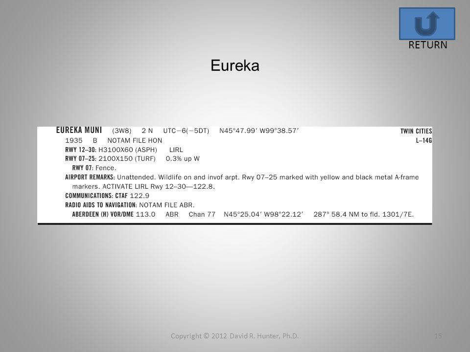 Eureka Copyright © 2012 David R. Hunter, Ph.D.15 RETURN