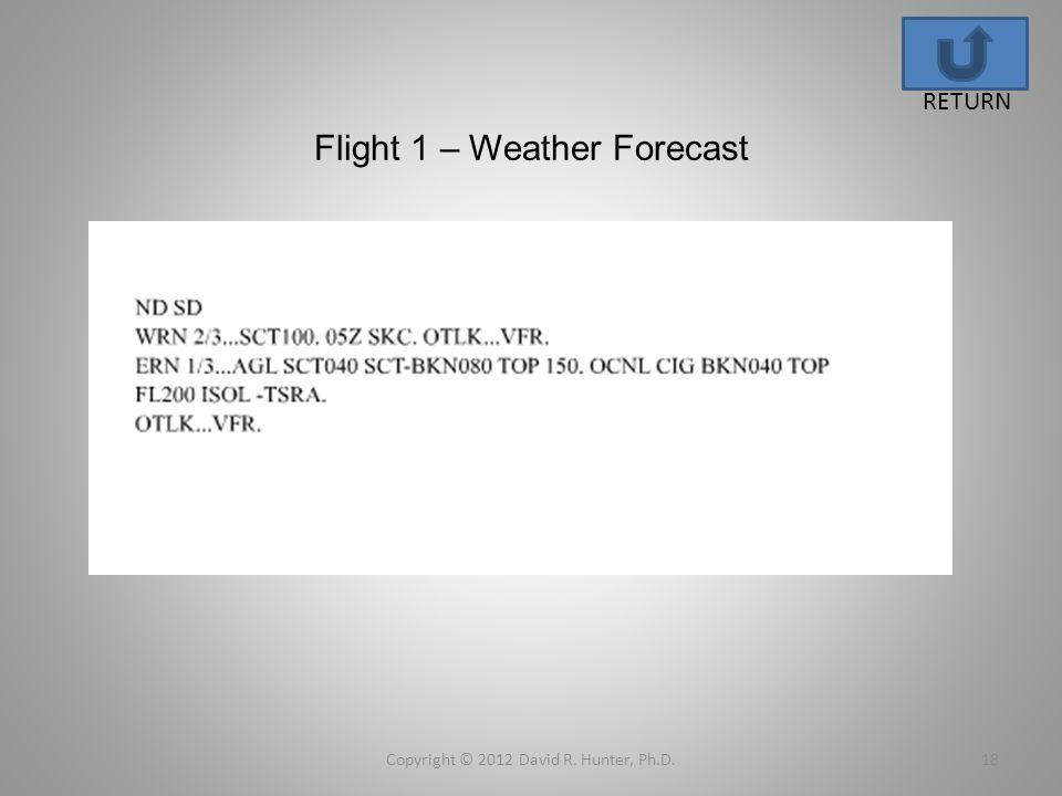 Flight 1 – Weather Forecast Copyright © 2012 David R. Hunter, Ph.D.18 RETURN