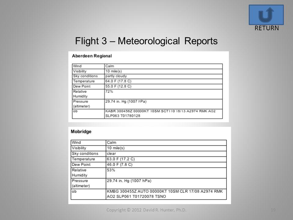 Flight 3 – Meteorological Reports Copyright © 2012 David R. Hunter, Ph.D.19 RETURN