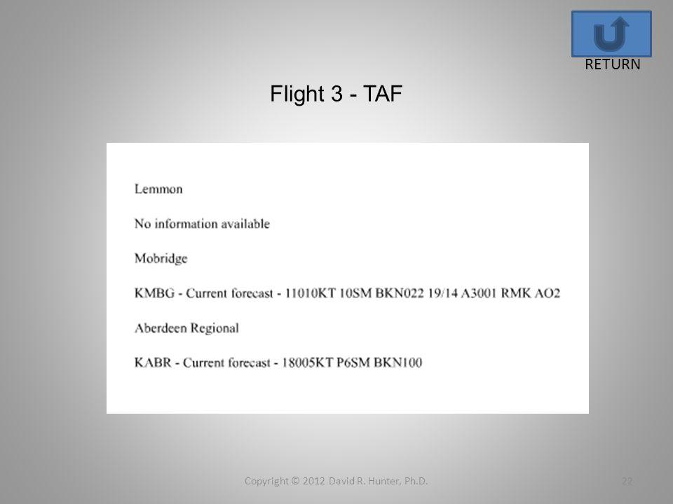 Flight 3 - TAF Copyright © 2012 David R. Hunter, Ph.D.22 RETURN