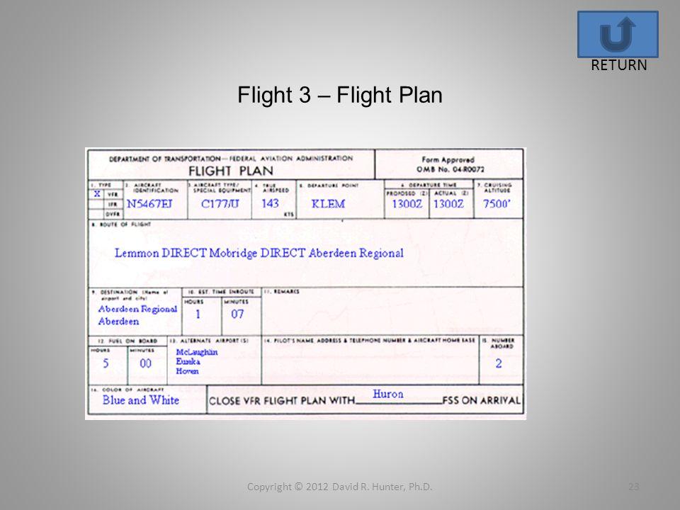Flight 3 – Flight Plan Copyright © 2012 David R. Hunter, Ph.D.23 RETURN